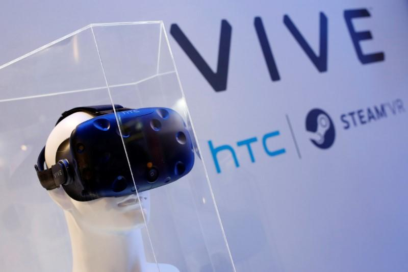 A pair of HTC's Vive Virtual Reality (VR) goggles, is seen during annual Computex computer exhibition in Taipei