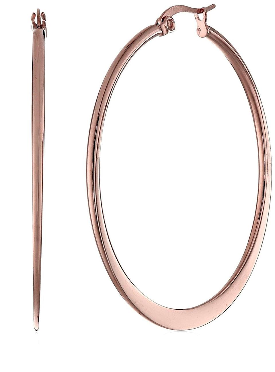 <p>These <span>Amazon Collection Stainless Steel Flattened Hoop Earrings</span> ($9) are timeless.</p>