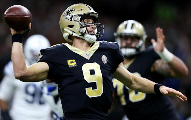 A pass interference call — of all things — cost Drew Brees his record-breaking TD throw. (Jonathan Bachman/Getty Images)