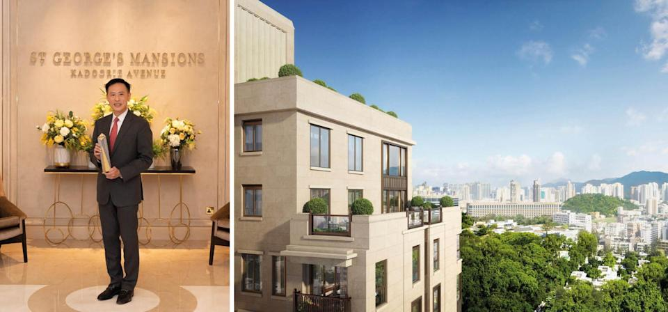 "Best Luxurious Residential Development(最佳豪宅項目)的得獎品牌是<span><a href=""http://www.stgeorgesmansions.hk/"" rel=""nofollow noopener"" target=""_blank"" data-ylk=""slk:St. George's Mansion"" class=""link rapid-noclick-resp"">St. George's Mansion</a></span>。由<a href=""https://www.sino.com/en/investor-relations/sino-land-company-limited/"" rel=""nofollow noopener"" target=""_blank"" data-ylk=""slk:信和置業"" class=""link rapid-noclick-resp"">信和置業</a>的Victor Tin (Group Associate Director of Sales)代表領獎。"