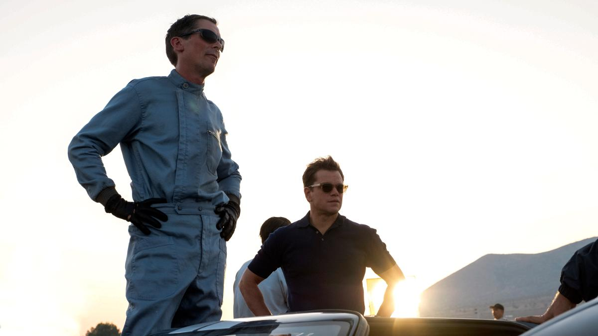 Christian Bale and Matt Damon star in motor racing biopic 'Le Mans 66'. (Credit: Fox)