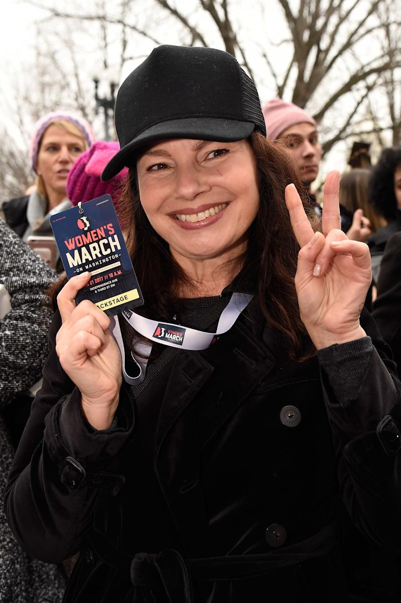 Fran Drescher attends the rally at the Women's March on Washington, DC.