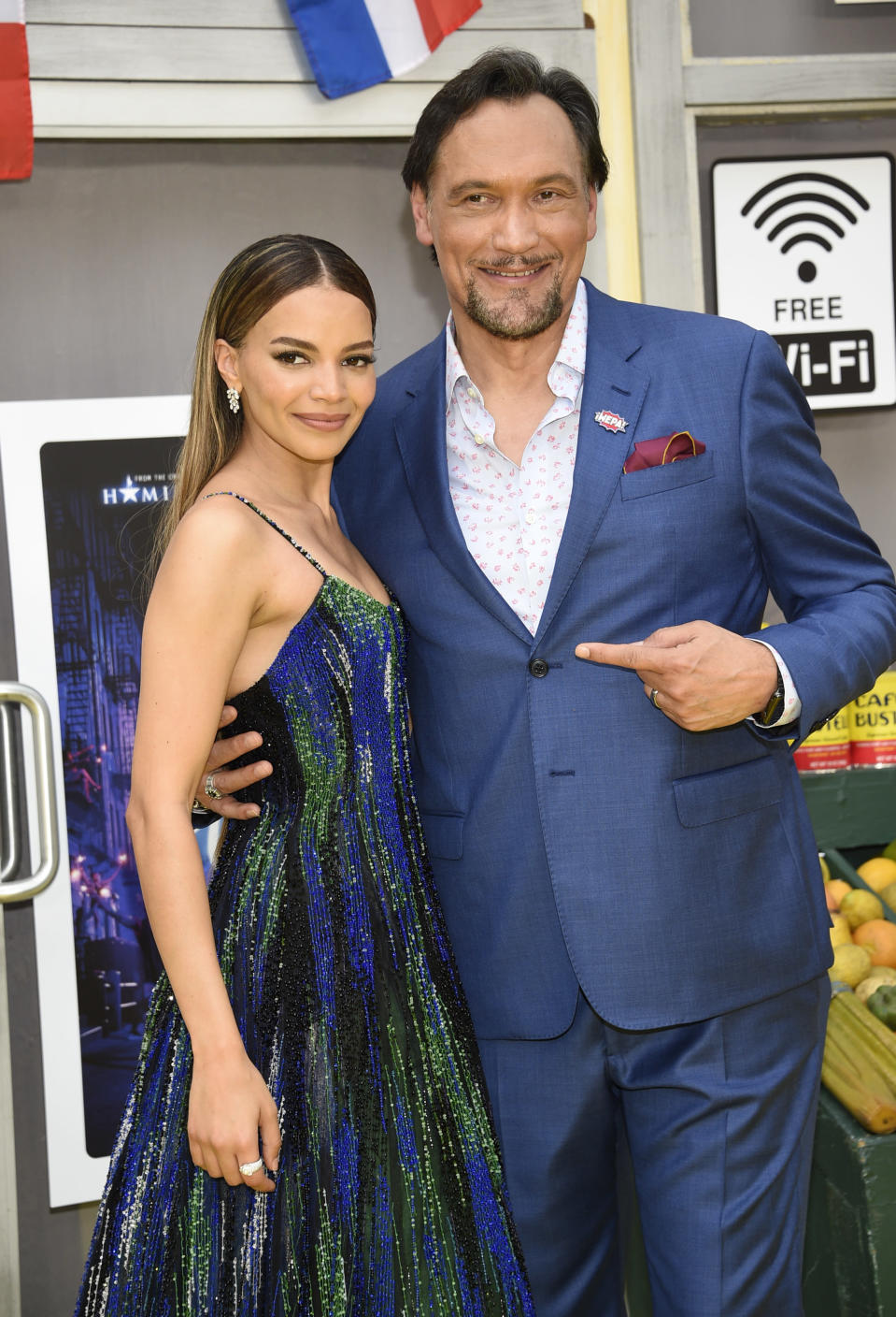 """Actors Leslie Grace, left, and Jimmy Smits pose at the 2021 Tribeca Film Festival opening night premiere of """"In the Heights"""" at the United Palace theater on Wednesday, June 9, 2021, in New York. (Photo by Evan Agostini/Invision/AP)"""