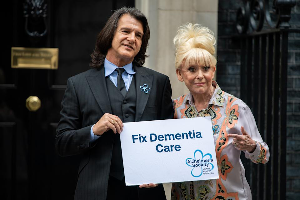 Dame Barbara Windsor and Scott Mitchell met with the Prime Minister at 10 Downing Street to discuss dementia care. (Photo by Chris J Ratcliffe/Getty Images)