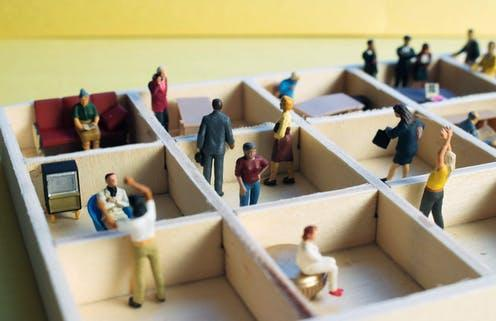 """<span class=""""attribution""""><a class=""""link rapid-noclick-resp"""" href=""""https://www.shutterstock.com/image-photo/miniature-people-separated-office-cubicles-sterile-1565199103"""" rel=""""nofollow noopener"""" target=""""_blank"""" data-ylk=""""slk:Zenza Flarini/Shutterstock"""">Zenza Flarini/Shutterstock</a></span>"""