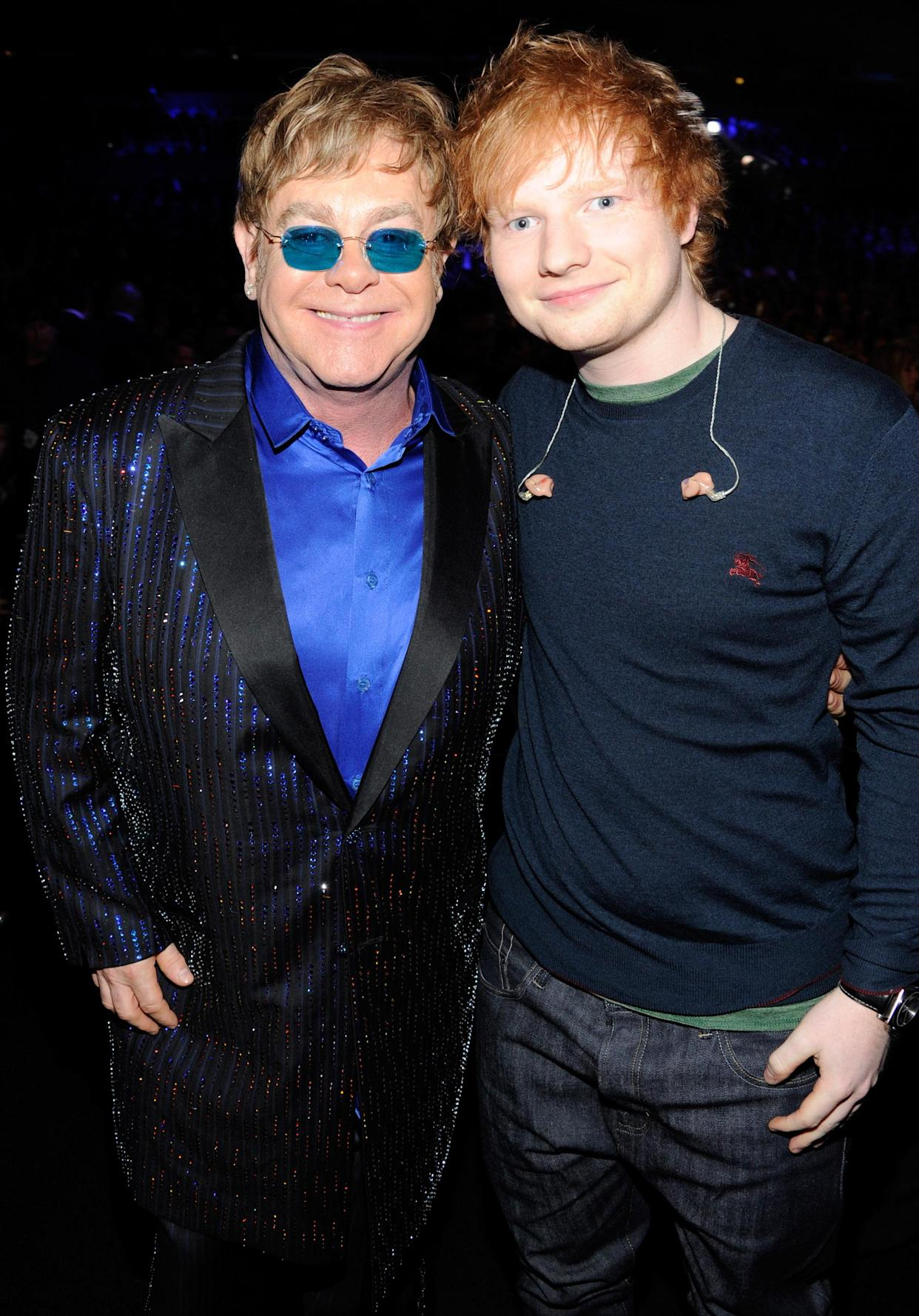 LOS ANGELES, CA - FEBRUARY 10:  Elton John and Ed Sheeran attends the 55th Annual GRAMMY Awards at STAPLES Center on February 10, 2013 in Los Angeles, California.  (Photo by Kevin Mazur/WireImage)