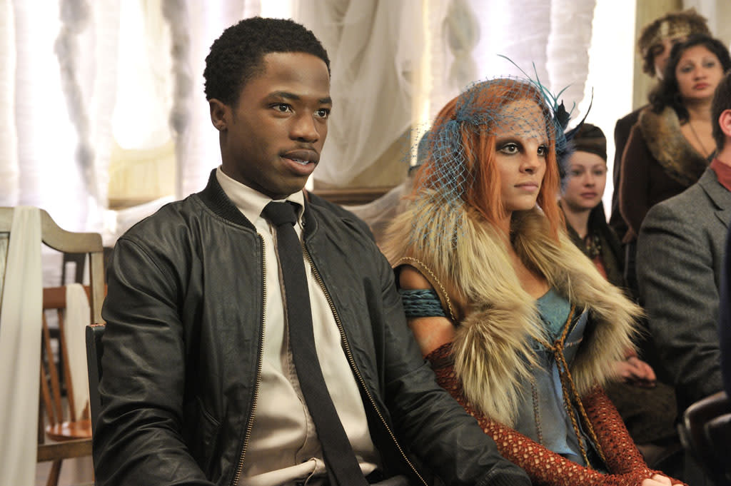 "Dewshane Williams as Tommy LaSalle and Stephanie Leonidas as Irisa in the ""Defiance"" epsiode, ""The Bride Wore Black."""