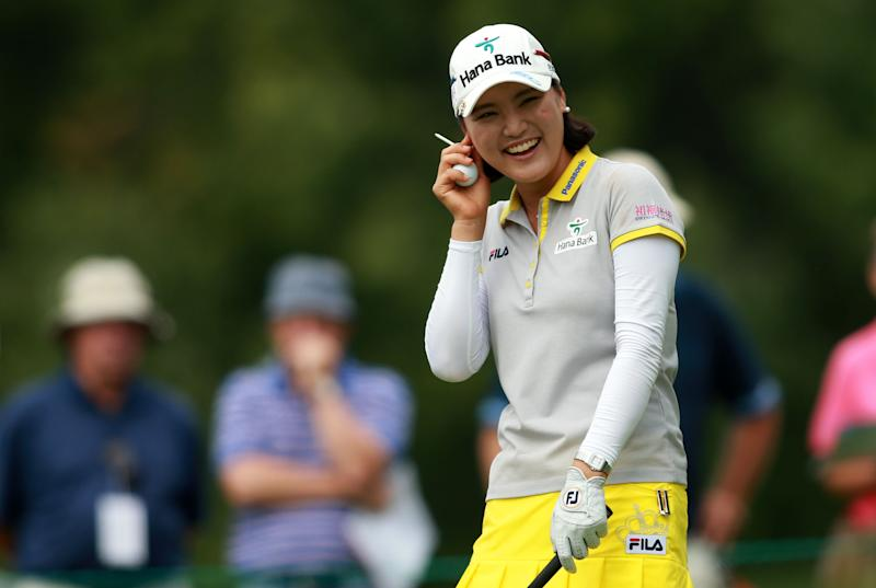 So Yeon Ryu of South Korea smiles while waiting to tee off on the 5th hole during the second round of the LPGA Canadian Pacific Women's Open on August 22, 2014 in London, Ontario