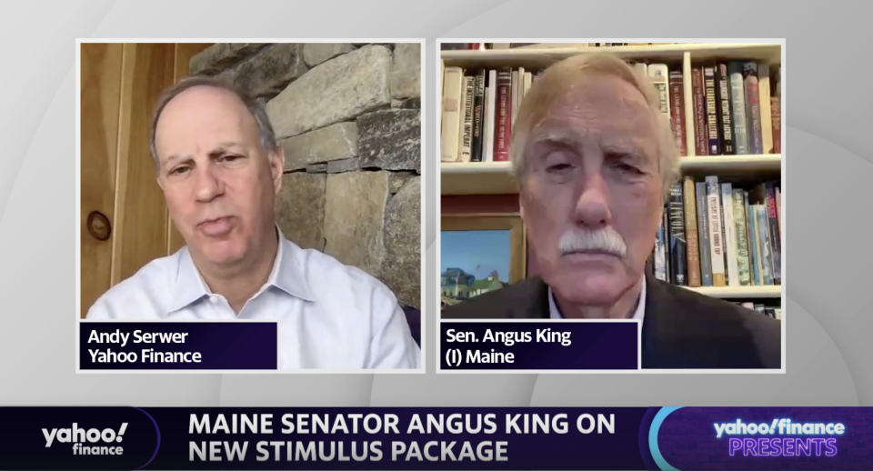 Senator Angus King (I-ME) speaks with Yahoo Finance Editor-in-Chief Andy Sewer on Monday.