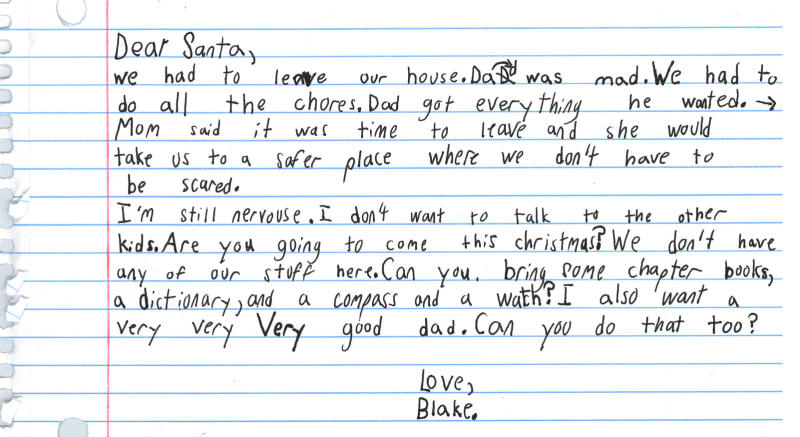 Domestic Violence Shelter Shares 7-year-old's Heartbreaking Letter to Santa