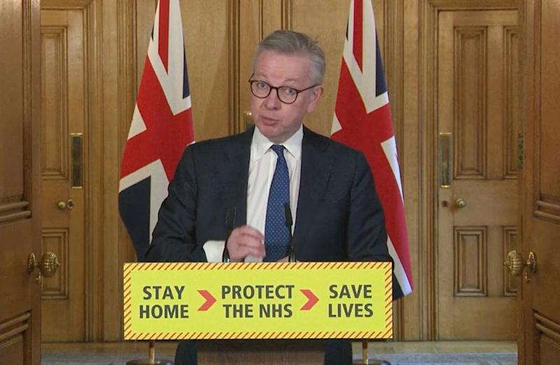 Screen grab of Minister for the Cabinet Office Michael Gove during a media briefing in Downing Street, London, on coronavirus (COVID-19).