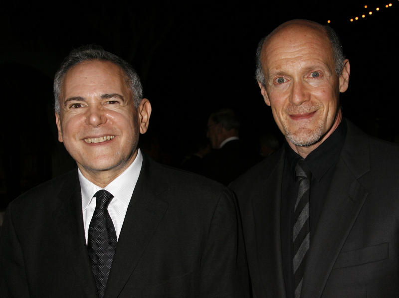 """FILE - This Nov. 15, 2007 file photo shows Craig Zadan, left, and Neil Meron, producers of the film """"Hairspray"""" at the Santa Barbara International Film Festival's in Santa Barbara, Calif. Meron, who is producing the Oscar show for the second time with partner Craig Zadan, hopes a careful blend of secrecy and teasing, topped with some of the tightest races in recent Oscar memory, makes the 86th Academy Awards a lure for viewers far and wide. The Oscars will be held on Sunday, March 2, 2014. (AP Photo/Michael A. Mariant, File)"""