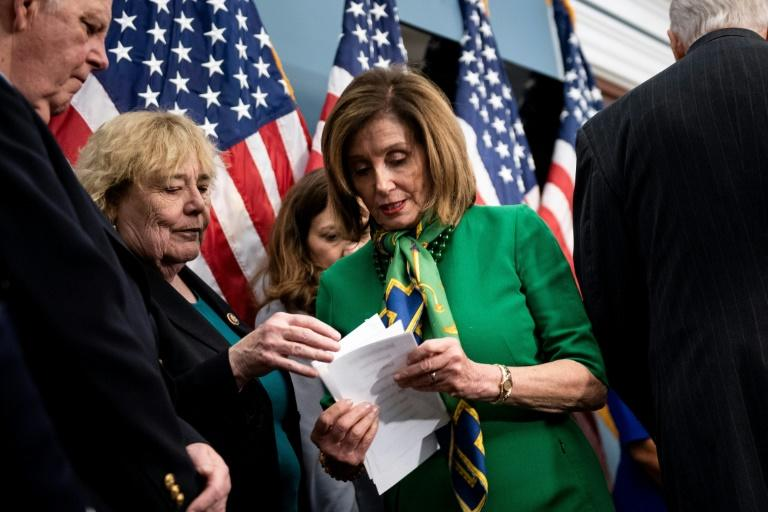 Speaker of the House Nancy Pelosi Democrat leader Nancy Pelosi is expected to forward impeachment charges against Trump to the Senate, launching his historic trial for abuse of power (AFP Photo/Brendan Smialowski)