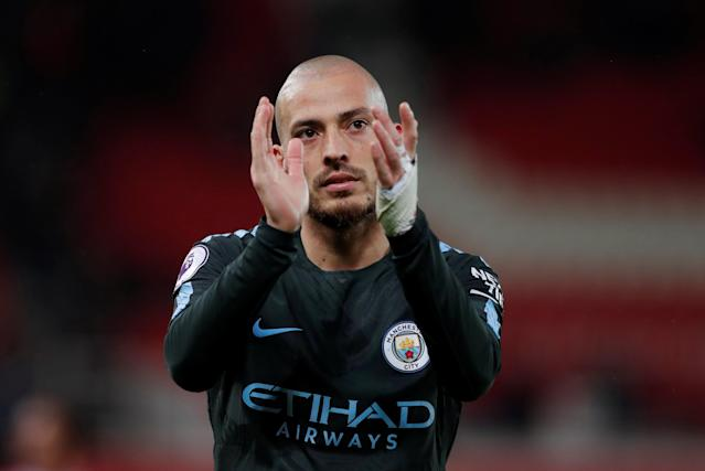 "Soccer Football - Premier League - Stoke City vs Manchester City - bet365 Stadium, Stoke-on-Trent, Britain - March 12, 2018 Manchester City's David Silva applauds fans after the match Action Images via Reuters/Andrew Couldridge EDITORIAL USE ONLY. No use with unauthorized audio, video, data, fixture lists, club/league logos or ""live"" services. Online in-match use limited to 75 images, no video emulation. No use in betting, games or single club/league/player publications. Please contact your account representative for further details."