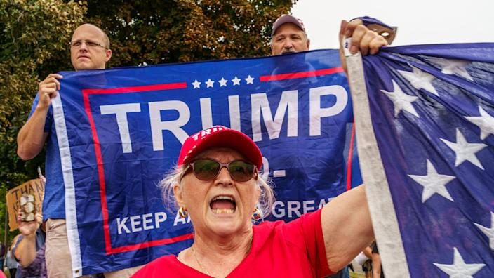 Supporters demonstrate in front of the Kenosha, Wisconsin, Courthouse on September 01, 2020, during the visit of US President Donald Trump. (Kerem Yucel/AFP via Getty Images)