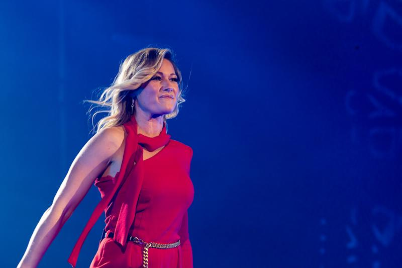 26 October 2019, Baden-Wuerttemberg, Burladingen: The singer Helene Fischer appears in the context of the celebrations to the 100-year old firm anniversary of the textile manufacturer Trigema before the guests. Photo: Philipp von Ditfurth/dpa (Photo by Philipp von Ditfurth/picture alliance via Getty Images)