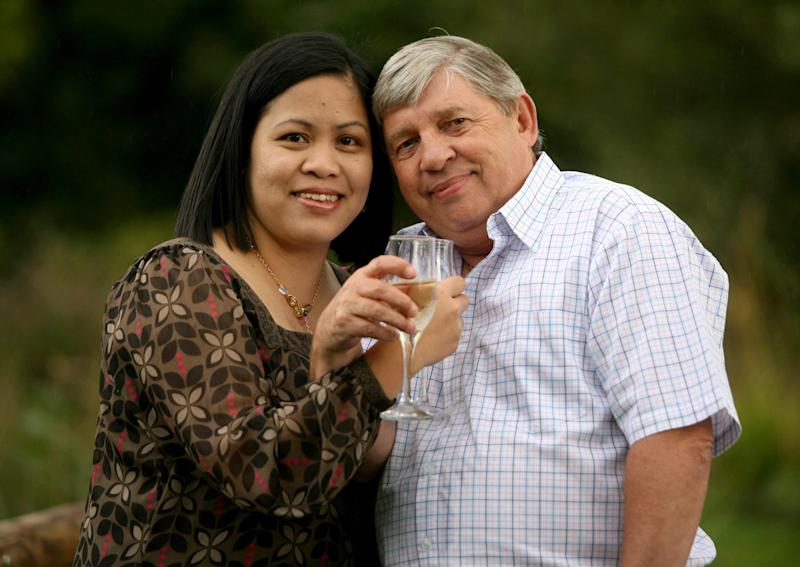 Mr Sheppard with his eighth wife, Weng (Picture: SWNS)
