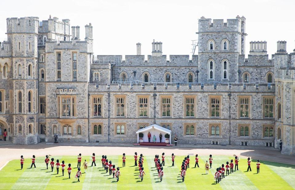 <p>The 1st Battalion Welsh Guards carried out a special ceremony in honor of the queen's official birthday in 2020.</p>