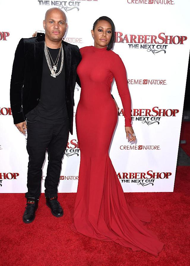 Stephen Belafonte and Mel B attend the premiere of <em>Barbershop: The Next Cut</em> on April 6, 2016, in Hollywood. (Photo: Steve Granitz/WireImage)