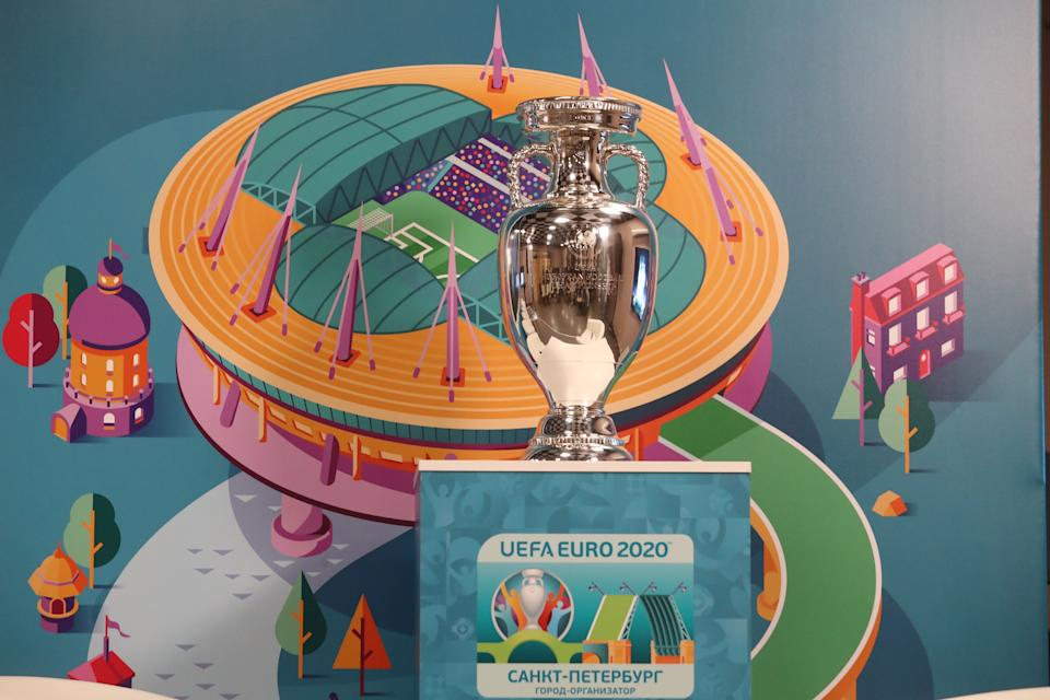 ST PETERSBURG, RUSSIA - MARCH 3, 2021: The Henri Delaunay Cup, the official trophy of the tournament, ahead of a press conference marking 100 days till the start of Euro 2020 at Gazprom Arena. Alexander Demianchuk/TASS (Photo by Alexander Demianchuk\TASS via Getty Images)