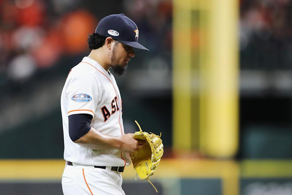 In his first game action in more than a week, Roberto Osuna fell apart against the Red Sox. (Getty Images)