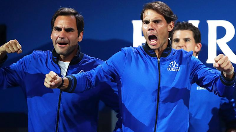 Roger Federer and Rafael Nadal, pictured here watching on at the Laver Cup.
