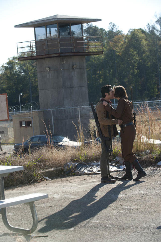 "Glenn (Steven Yeun) and Maggie Greene (Lauren Cohan) in ""The Walking Dead"" episode, ""This Sorrowful Life."""