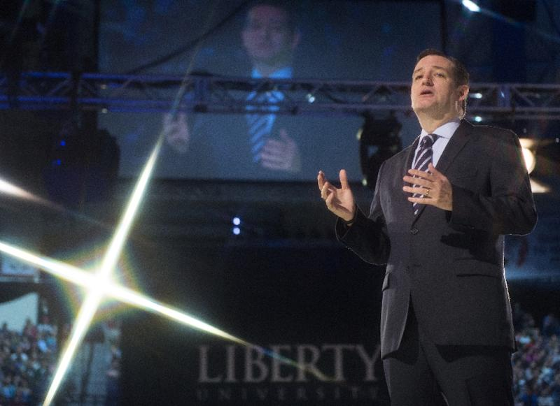 US Senator Ted Cruz announces his candidacy for the Republican nomination to run for US president March 23, 2015 at Liberty University in Lynchburg, Virginia (AFP Photo/Paul J Richards)