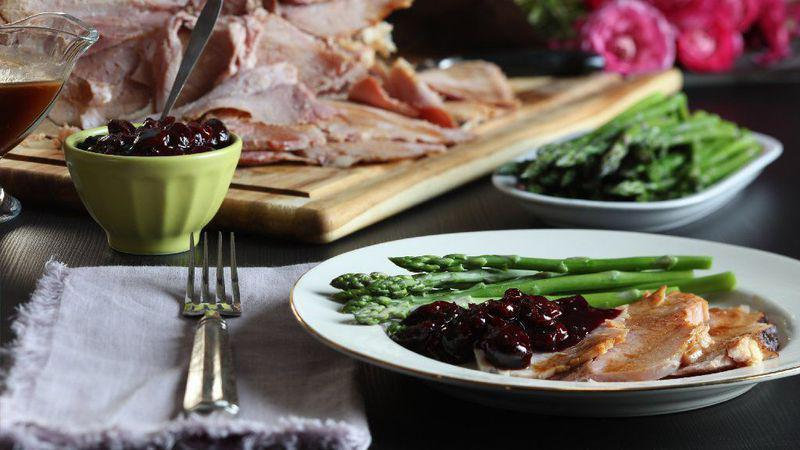 """<p>Most ham recipes use a glaze to add sweetness to the salty, smokey meat, but this one uses a three-cherry chutney for tartness and sugar.</p> <p><a href=""""https://www.thedailymeal.com/recipes/ham-cherry-chutney-recipe?referrer=yahoo&category=beauty_food&include_utm=1&utm_medium=referral&utm_source=yahoo&utm_campaign=feed"""" rel=""""nofollow noopener"""" target=""""_blank"""" data-ylk=""""slk:For the Ham With Cherry Chutney recipe, click here."""" class=""""link rapid-noclick-resp"""">For the Ham With Cherry Chutney recipe, click here.</a></p>"""