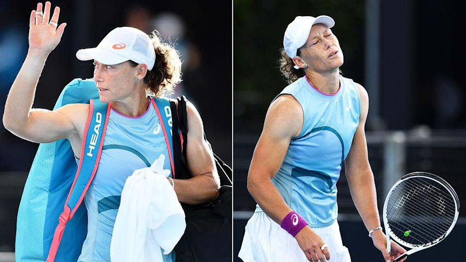 Pictured here, Sam Stosur cuts a frustrated figure at the Adelaide International.