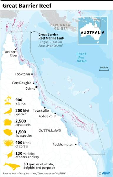 Map and factfile on Australia's Great Barrier Reef (AFP Photo/)