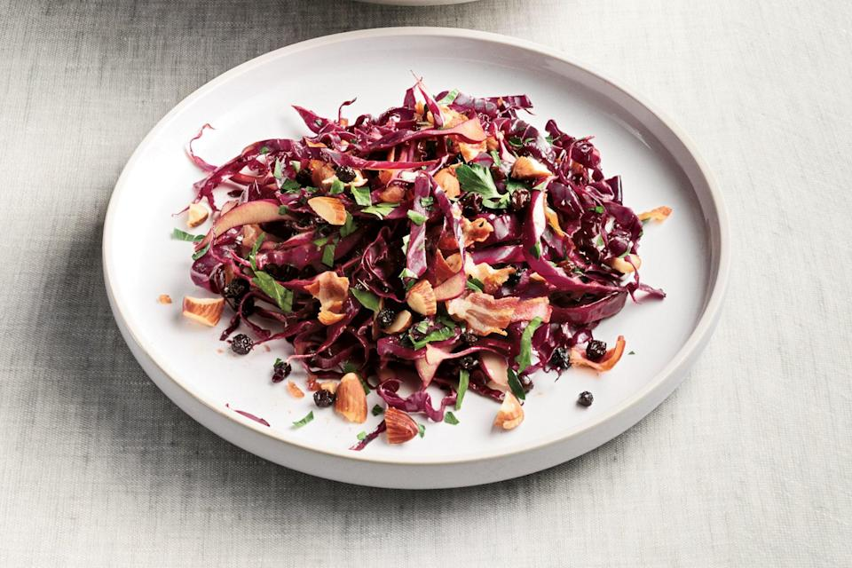 """Pouring warm dressing over shredded cabbage wilts it just a little bit, giving it a coleslaw vibe with a definite harvest-time edge. <a href=""""https://www.epicurious.com/recipes/food/views/red-cabbage-salad-with-warm-pancetta-balsamic-dressing-364089?mbid=synd_yahoo_rss"""" rel=""""nofollow noopener"""" target=""""_blank"""" data-ylk=""""slk:See recipe."""" class=""""link rapid-noclick-resp"""">See recipe.</a>"""