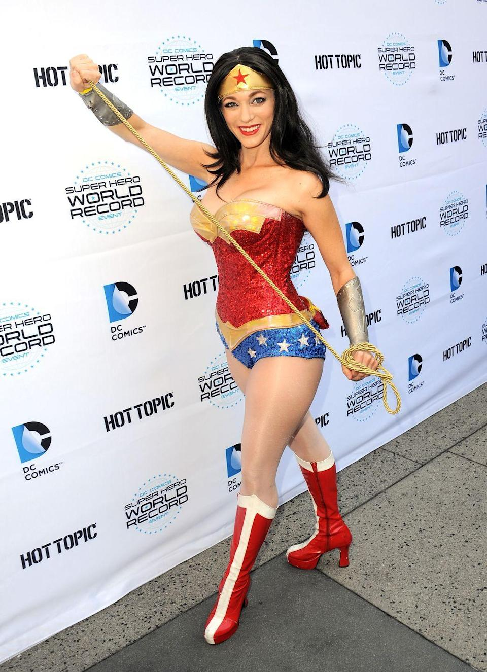 """<p>Wonder Woman is a timeless costume, but you can bring some '70s flair by dressing up as the Lynda Carter version of the Amazonian crime fighter. </p><p><a class=""""link rapid-noclick-resp"""" href=""""https://www.amazon.com/Costume-Superhero-Cosplay-Bodysuit-Headband/dp/B083HNFZT2?tag=syn-yahoo-20&ascsubtag=%5Bartid%7C10070.g.23122163%5Bsrc%7Cyahoo-us"""" rel=""""nofollow noopener"""" target=""""_blank"""" data-ylk=""""slk:SHOP LEOTARD"""">SHOP LEOTARD</a></p>"""