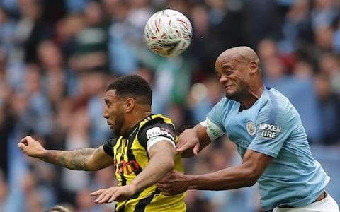 Kompany won the much-anticipated physical battle with Troy Deeney - Credit: GETTY IMAGES