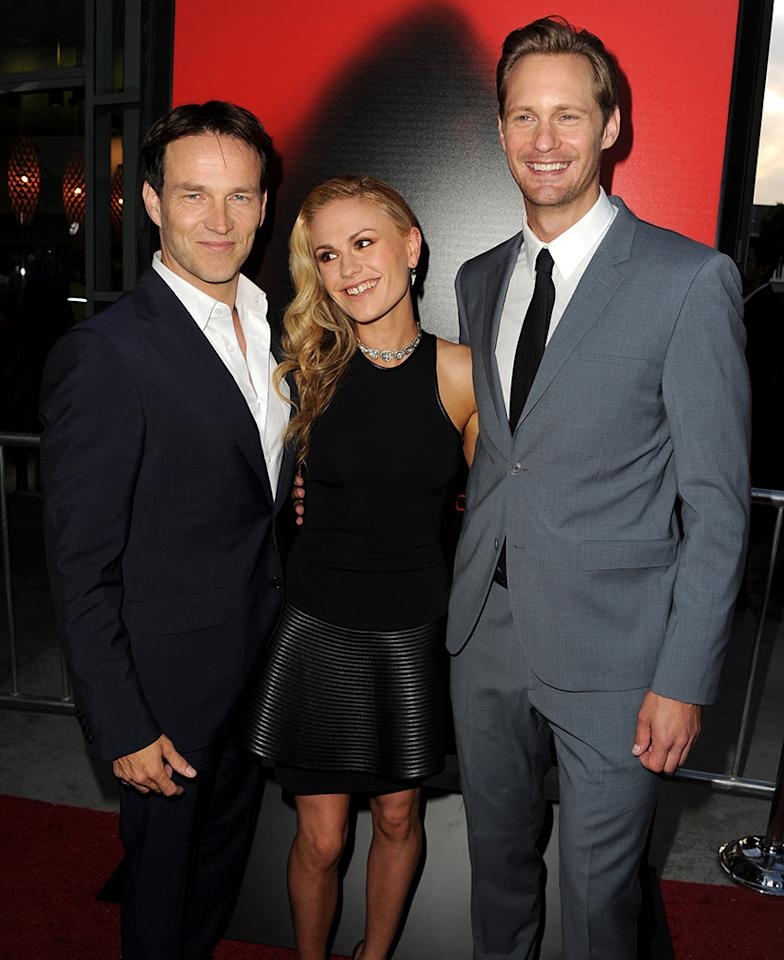 "Stephen Moyer, Anna Paquin and Alexander Skarsgard attend the premiere of HBO's ""True Blood"" at ArcLight Cinemas Cinerama Dome on June 11, 2013 in Hollywood, California."