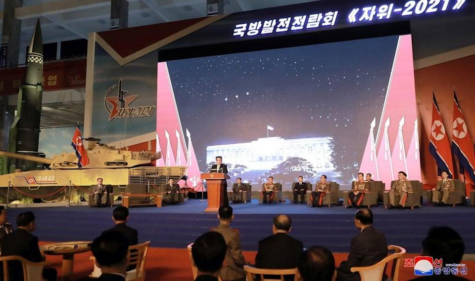 North Korea's leader Kim Jong Un slammed US and South Korea in a speech during the 76th anniversary of ruling party  (KCNA via Reuters)