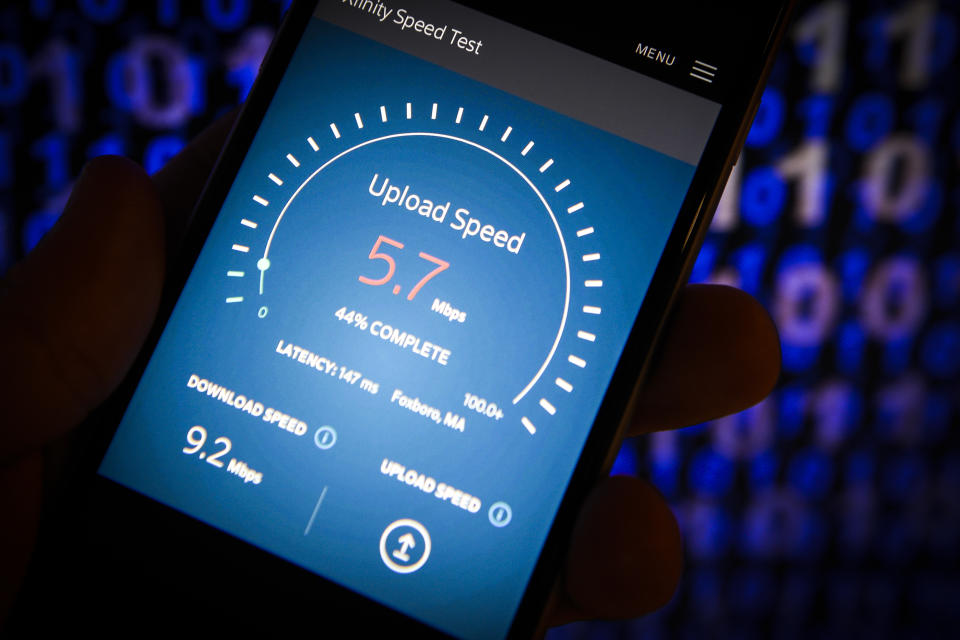 An internet speed test website is seen on a mobile device in this photo illustration on June 11, 2018 in Warsaw, Poland. With the American Federal Communications Commission having repealed law's that protect consumers from companies themselves determining internet speeds, the so called net neutrality rules fears arise that the internet will more and more resembel cable TV where a handful of big companies dominate broadcasting. (Photo by Jaap Arriens/NurPhoto via Getty Images)