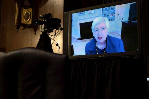 PHOTO: Treasury Secretary-nominee Janet Yellen appears virtually during a confirmation hearing before the Senate Finance Committee on Capitol Hill, Jan. 19, 2021, in Washington. (Anna Moneymaker/The New York Times via AP)