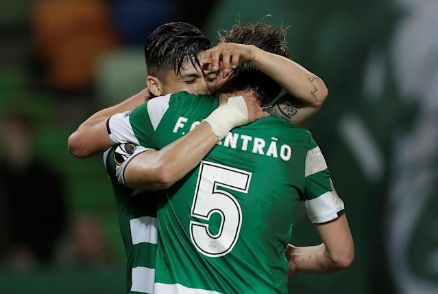 Soccer Football - Europa League Round of 16 First Leg - Sporting CP vs Viktoria Plzen - Estadio Jose Alvalade, Lisbon, Portugal - March 8, 2018 Sporting's Fredy Montero celebrates with Fabio Coentrao after scoring their first goal REUTERS/Rafael Marchante