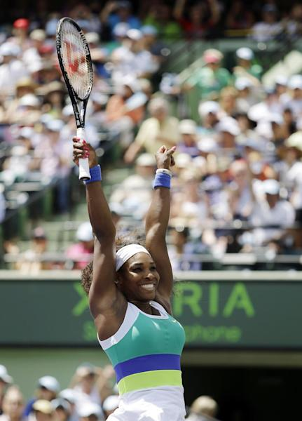 Serena Williams celebrates after defeating Maria Sharapova, of Russia, 4-6, 6-3, 6-0, in the final match of the Sony Open tennis tournament, Saturday, March 30, 2013 in Key Biscayne, Fla. (AP Photo/Lynne Sladky)