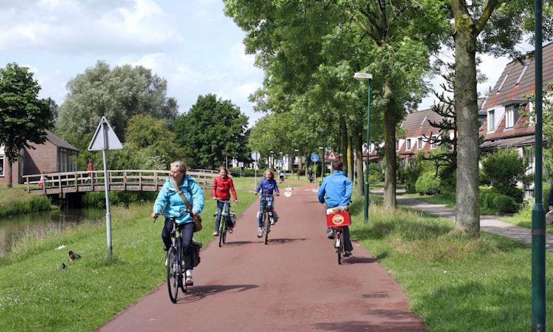 A cycle route in Houten, near Utrecht.