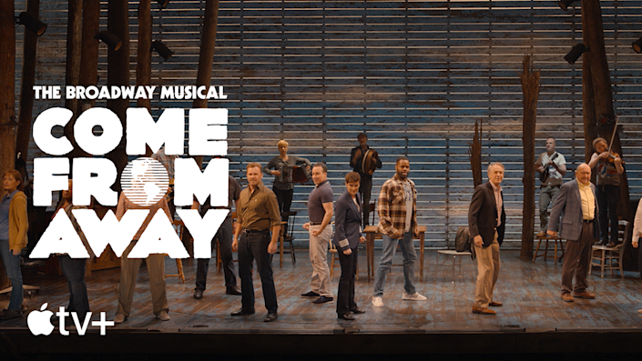 Cast of Come From Away performs live.  Image via Apple TV +