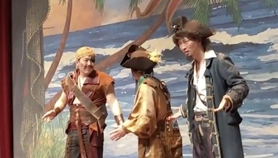 Actors react after the attack during a Pirates of the Caribbean show at Shanghai Disneyland. Photo: Baidu