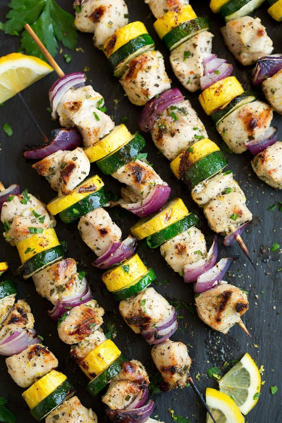 "<p>These stacked kebabs are grilled to charred perfection.</p><p><strong>Get the recipe at <a href=""https://www.cookingclassy.com/lemon-pepper-chicken-kebabs/"" rel=""nofollow noopener"" target=""_blank"" data-ylk=""slk:Cooking Classy"" class=""link rapid-noclick-resp"">Cooking Classy</a>.</strong></p>"