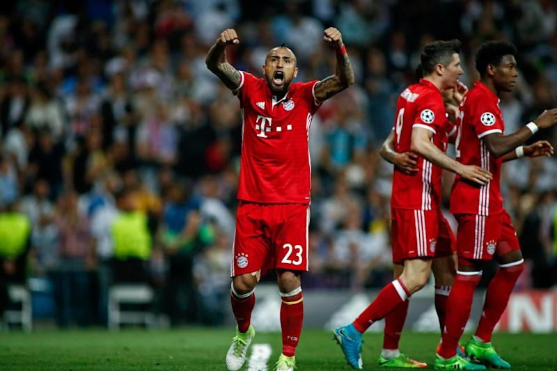 Delight | Arturo Vidal celebrates after Sergio Ramos nets an own goal (AFP/Getty Images)