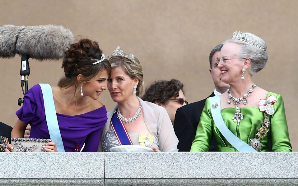 Crown Princess Rania of Jordan, Sophie Countess of Wessex and Queen Margrethe II of Denmark appear on June 19, 2010 in Stockholm, Sweden - Corbis