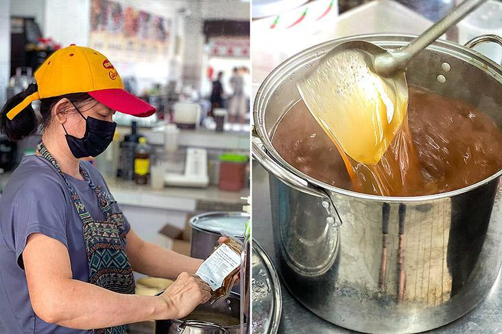 Alice Chang using Trupaste soup paste to make the broth for Penang 'asam laksa.'
