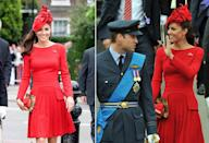 <p>The Duchess of Cambridge first debuted this scarlet red dress from Alexander McQueen when she went on a boat ride down the River Thames for a Diamond Jubilee event.</p>