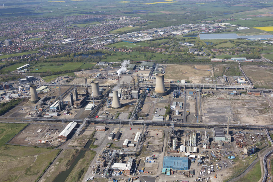 COUNTY DURHAM, UNITED KINGDOM - MAY, 2018. Aerial Photograph Of Cassel Chemical Works, Billingham, County Durham on May 5th, 2018. Located just west of the River Tees,  2 miles south of Billingham, in this aerial photograph taken by David Goddard.