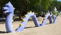 """<div class=""""caption-credit""""> Photo by: Waltarrrr/Flickr</div><div class=""""caption-title"""">La Laguna Playground, San Gabriel CA</div>Historic La Laguna Playground is populated by 14 concrete monster sculptures instead of traditional equipment. Built in a sand-filled lagoon, it was designed by Mexican artist Benjamin Dominguez. Preservationists saved it from demolition in 2006."""